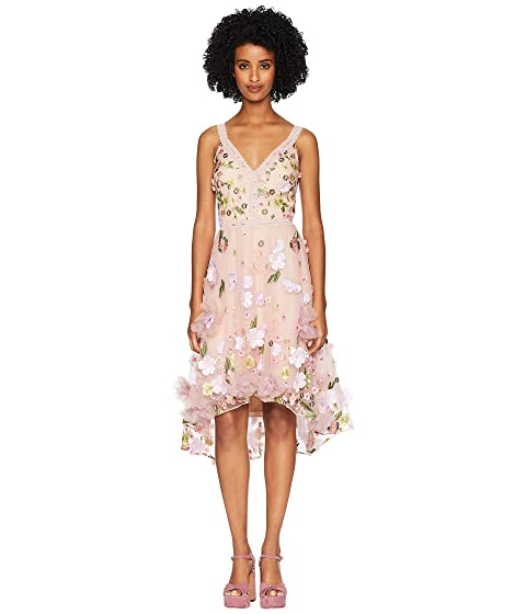 Marchesa Sleeveless V-Neck High-Low Multicolored 3D Floral Embroidered Cocktail with Trims