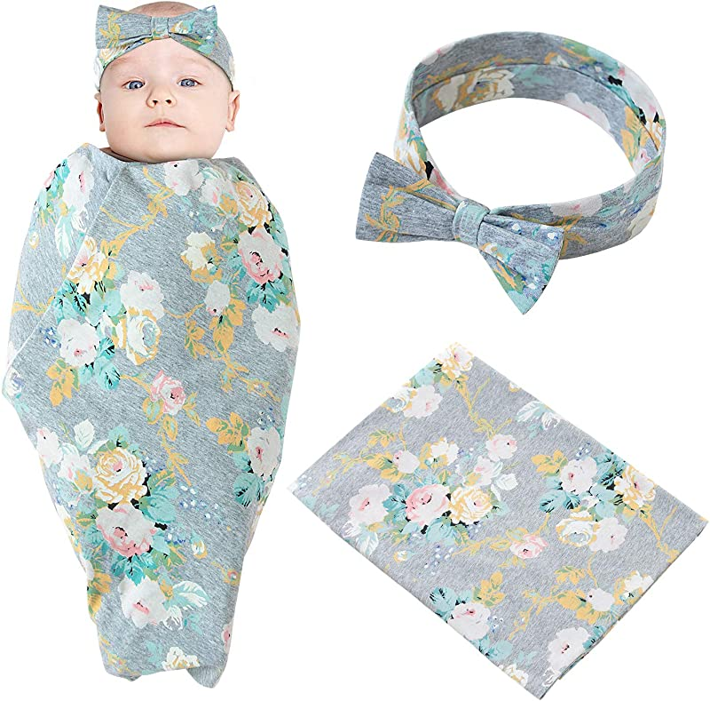 Baby Swaddle Blanket Newborn Baby Receiving Blankets With Headband For Baby Boys Girls Unisex Cotton Flower Print