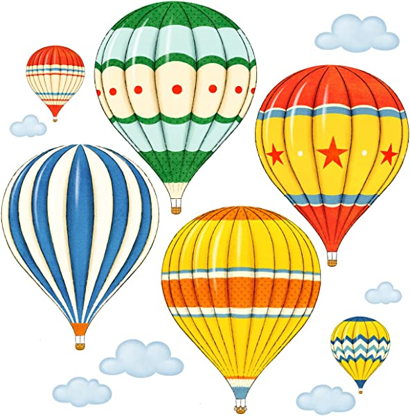 Decowall DA 1711 Colourful Hot Air Balloons Kids Wall Decals Wall Stickers Peel And Stick Removable Wall Stickers For Kids Nursery Bedroom Living Room