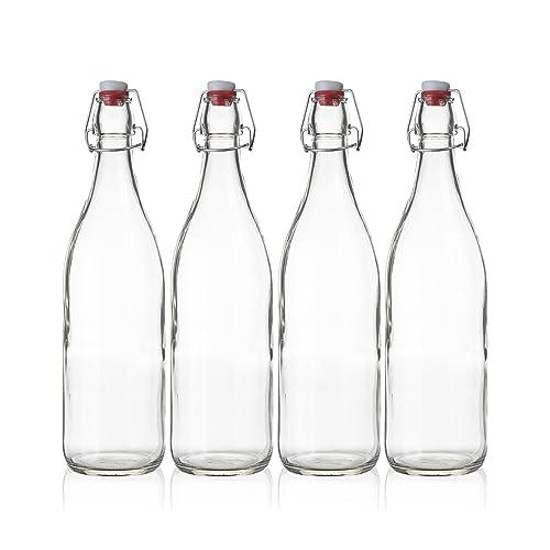 Glass Bottle with Lid: Amazon com