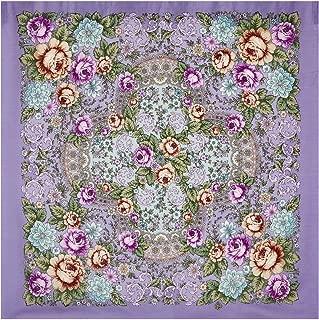 Pavlovo Posad Russian Shawl Purple №128 100% Wool 35x35''