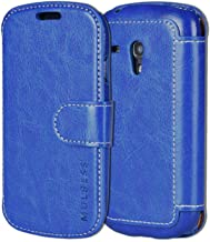 Samsung Galaxy S3 Mini Case Wallet,Mulbess [Layered Dandy][Vintage Series][Blue] - [Ultra Slim][Wallet Case] - PU Leather Flip Cover with Credit Card Slot for Samsung Galaxy S3 Mini i8190