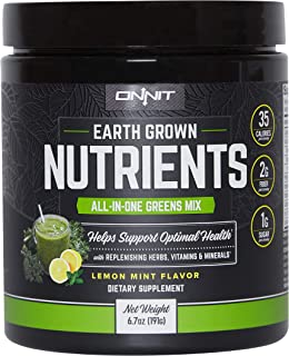 Onnit Earth Grown Nutrients: All-in-One Daily Greens and Replenishing Herbs - Lemon Mint Flavor (15 Servings)