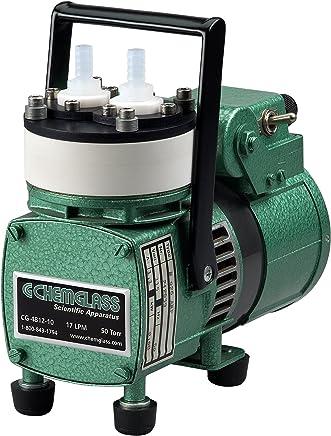 Chemglass CG-4812-10 Metal/PTFE Vacuum Pump, Diaphragm 17 LPM,