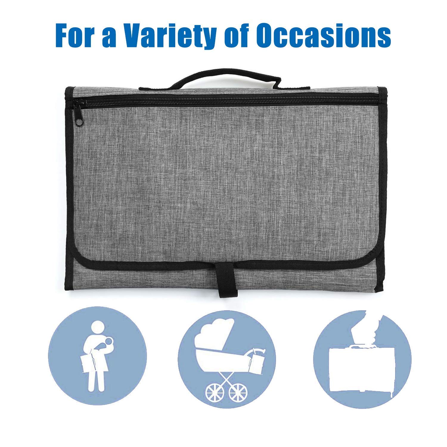 Baby Large Portable Diaper Changing Pad, Foldable Waterproof Mat Travel Changing Pad for Toddlers and Newborns(Grey)