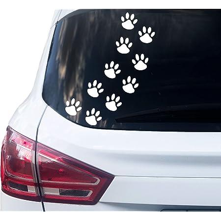 Printattack P001 12 Hundepfoten Aufkleber Farbe Wählbar 6cm X 6cm 010 Weiß Auto