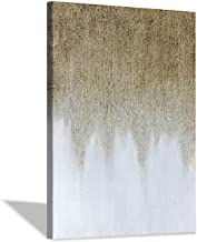 Abstract Painting Canvas Wall Art: Rustic Hand-painted Textured Gold White Embellishment Modern Picture Artwork for Home D...