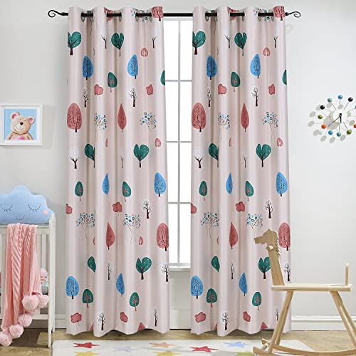 Nice Melodieux Cartoon Trees Room Darkening Blackout Grommet Top Curtain/Drapes  For Kids Room, 52