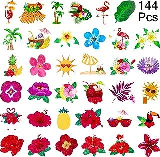 Zhanmai 144 Pieces Summer Themed Temporary Luau Hibiscus Tattoos, 36 Summer Assorted Tropical Tattoos - Hawaiian/Flamingo/Summer Pool Party Favors