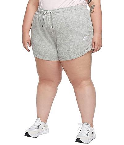Nike Plus Size NSW Essential Shorts French Terry (Dark Grey Heather/White) Women