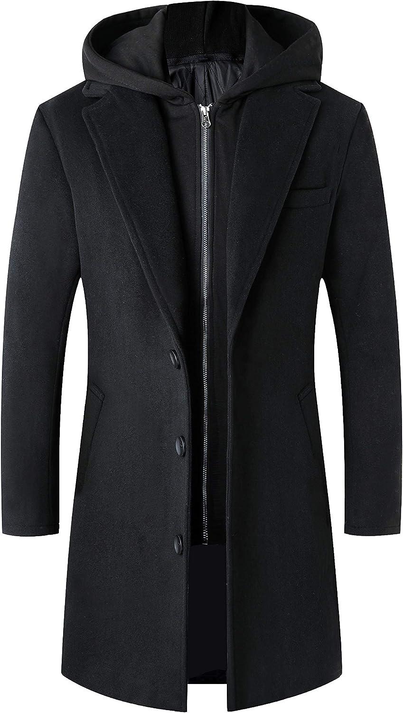 Lisskolo Men's Wool Blend Overcoat with Detachable Hooded Trench Coat Knee Length