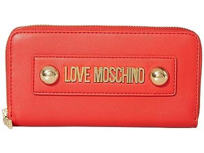 LOVE Moschino Love Logo Stud Zip Wallet (Red Small Grain PU) Handbags