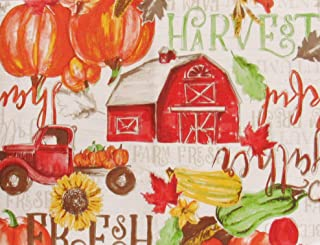 Farm Fresh Country Autumn Harvest Collection Vinyl Flannel Back Tablecloth (60