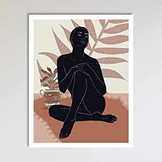 The Pink Lady, Minimalist Abstract Contemporary Art Print Poster, Boho Botanical Tropical Palm Leaf, Living Room, Kitchen and Home Wall Décor, 11x14 inches, Unframed