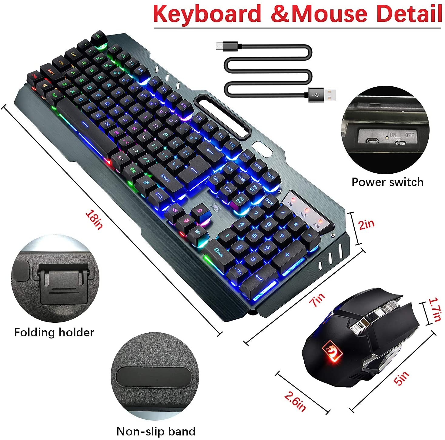 Wireless Gaming Keyboard and Mouse Combo,3 in 1 Rainbow LED Rechargeable Keyboard Mouse with 3800mAh Battery Metal Panel,10 Colors RGB Gaming Mouse Pad (32.5x12x0.15 inch),7 Colors Mute Gaming Mouse