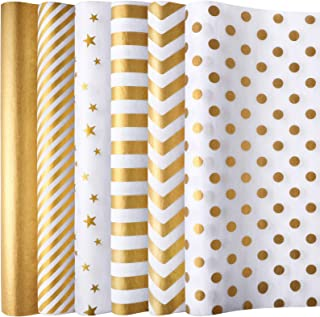Aodaer 120 Sheets 6 Styles Gold Assorted Tissue Paper Gift Wrapping Tissue Paper Craft Paper Decorative Paper Art Tissue f...
