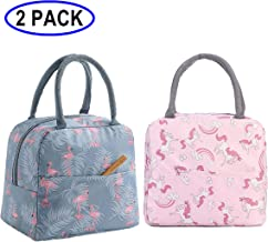 GOTONE 2Pack Lunch Bag Insulated Container, Travel Picnic School Lunch Box Collapsible Tote Bag with Front Pocket, Zipper Closure, Reusable & Multi-use for Men, Women and Kids (Flamingo&Rainbow Horse)