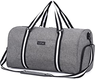 Water Resistant Sports Gym Duffel Bag with Shoes Compartment Travel Weekender Bag for Men Women Grey