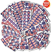 ArtCreativity Assorted USA Patriotic Stickers, 100 Sheets with Over 1,600 Stickers of US American Flag, Map and Stars, Red White and Blue Decorations for Fourth of July, Memorial, Veterans Day