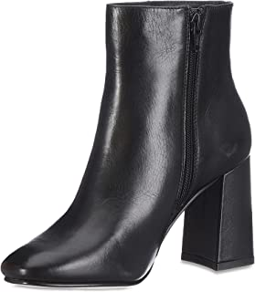 Womens Black Leather Block Heel Ankle Boots
