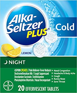 Best Alka-Seltzer Plus Night Cold Medicine, Lemon Effervescent Tablets with Pain Reliever/Fever Reducer, Lemon, 20 Count Review