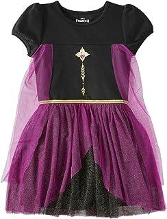 Disney Frozen II Big Girls Elsa or Anna Tutu Dress with Cape (Anna Purple, Large 10/12)