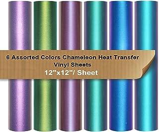 "Chameleon Heat Transfer Vinyl Sheets HTV 6 Packs 12""x12"" Iron On Vinyl for Cameo 6 Assorted Gradient Change Color HTV Bundle for Fabric"
