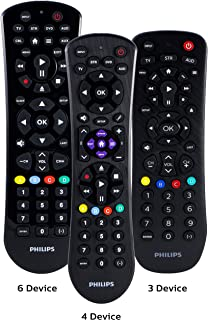 Philips Universal Remote Control for Samsung, Vizio, LG, Sony, Sharp, Roku, Apple TV, RCA, Panasonic, Smart TVs, Streaming Players, Blu-ray, DVD, Simple Setup, 4-Device, Black, SRP9243B/27