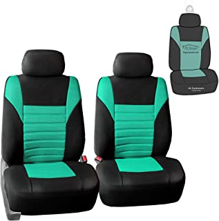 FH Group FB068102 Premium 3D Air Mesh Seat Covers Pair Set (Airbag Compatible) w. Gift, Mint/Color Black- Fit Most Car, Truck, SUV, or Van