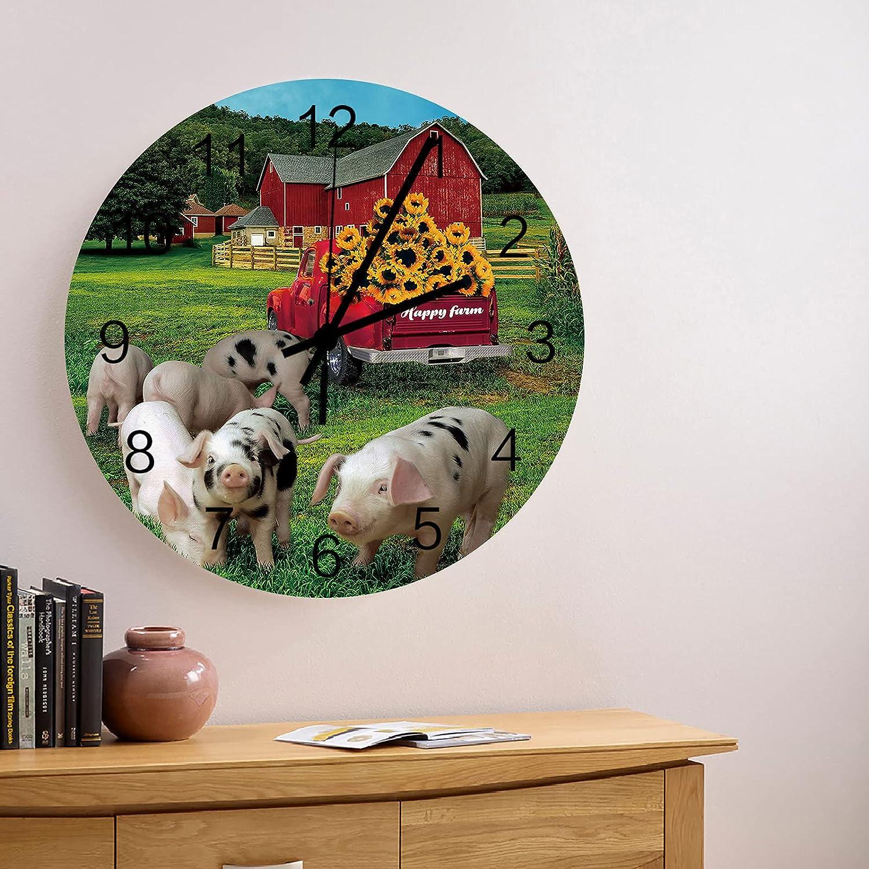 Fashionable 12 Inch Silent Non-Ticking Industry No. 1 Wall Clock Happy Farm Barn Fres Retro