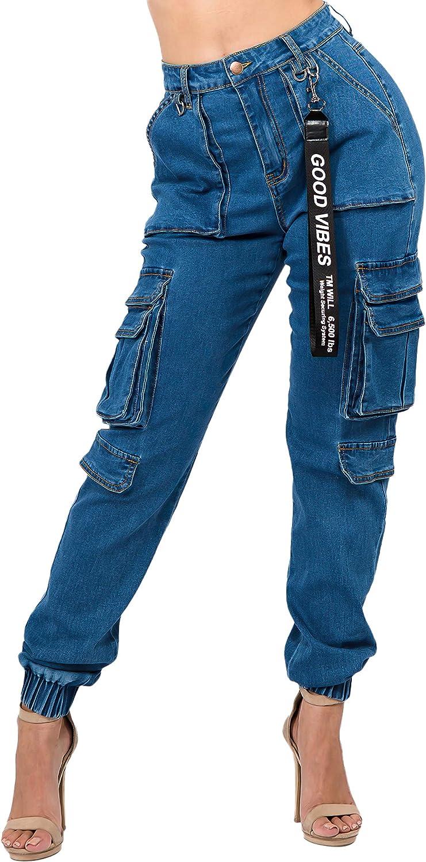 Women's Juniors/Plus Size High Waist Cargo Denim Joggers Pants (3595)