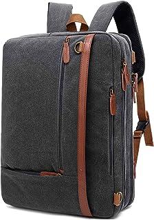 CoolBELL Convertible Backpack Shoulder Bag Messenger Bag Laptop Case Business Briefcase Leisure Handbag Multi-Functional Travel Rucksack Fits 17.3 Inch Laptop for Men/Women (Canvas Dark Grey)