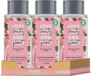 Love Beauty and Planet Blooming Color Champú manteca de muru muru & rosa 400mlx3