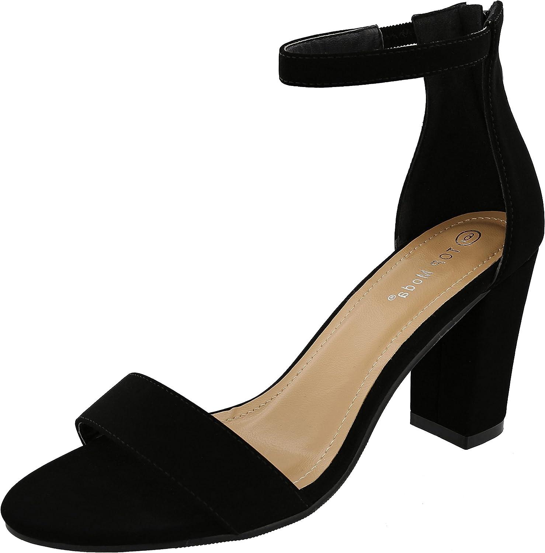 Top Moda Women's Ankle Wrap Back Zip Chunky Block Heel Open Toe Dress Sandal