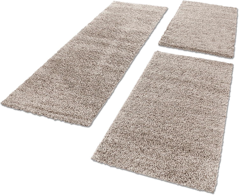 Shaggy Hochflor Teppich Carpet 3TLG Bettumrandung Läufer Set Schlafzimmer Flur, Farbe Beige, Bettset 2x60x110+1x80x150 B071HDNFZD