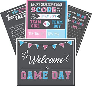 "Baby Gender Reveal Party Supplies- 4 Posters for Games and Decorations - Kit Includes 16 x 20"" Old Wives Tales, Voting Scoreboard, Name Suggestions and Welcome Sign- Team Pink or Blue, Boy or Girl"