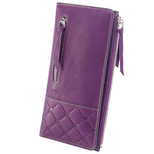 AINIMOER Women's RFID Blocking Large Capacity Luxury Genuine Leather Clutch Wallet Card Holder Organizer Ladies Purse(Vintage Purple)