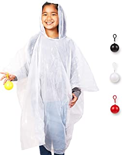 4 Pack Kids Disposable Ponchos with Ball - Disposable Raincoats for Boys and Girls - Childs Poncho, White