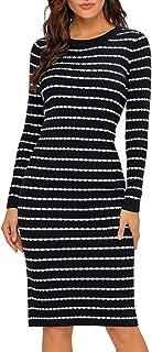 b39ba624c50 Lookbook Store Women s Casual Crew Neck Knit Sweater Stripe Bodycon Pencil  Dress