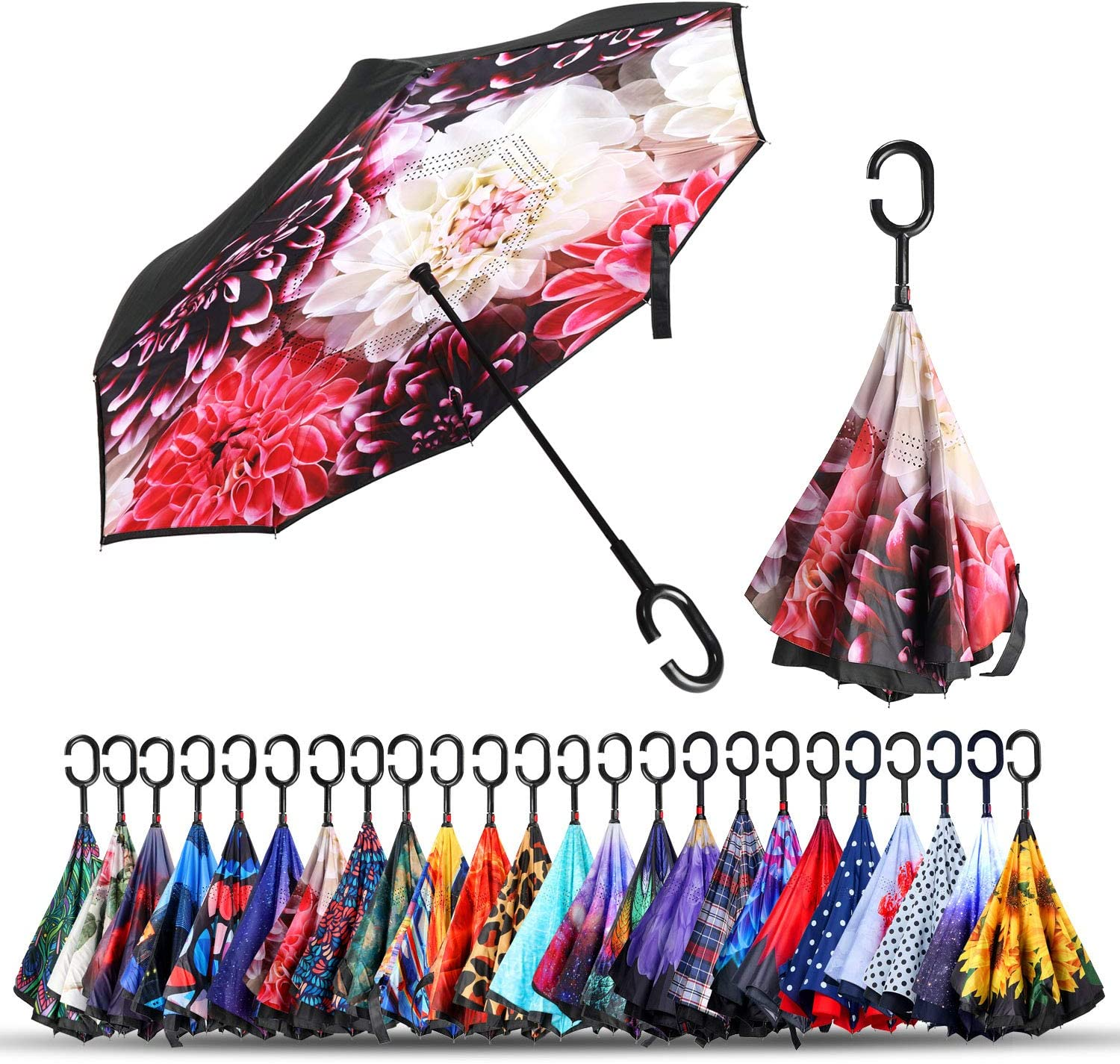 Houston Mall Double Layer Inverted Umbrellas Folding Reverse Windpro Umbrella Spring new work one after another