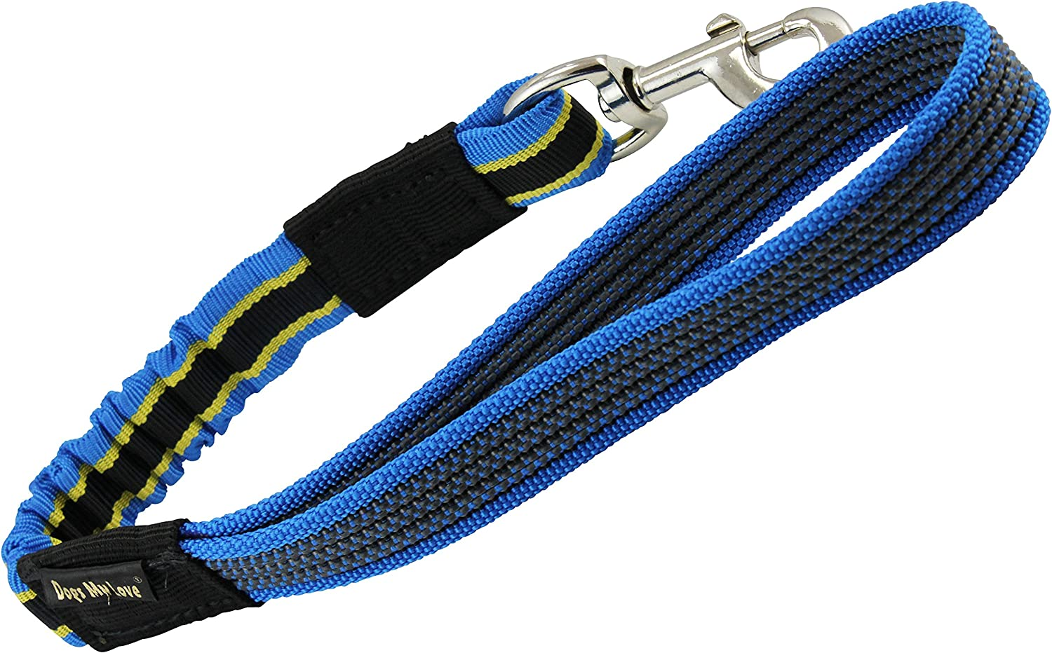 Bungee Shock Absorbing Dog Short Leash Large 20  Long 1  Wide Traffic Lead bluee