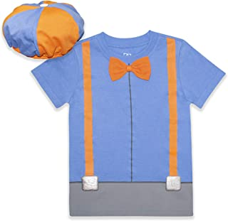 Blippi Roleplay Shirt and Hat Roleplay Set with Printed Bow Tie and Suspenders, Orange/Blue