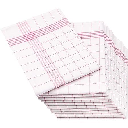 ZOLLNER Set de 12 torchons en lin, rouge-blanc (autres disponibles), 50x70 cm