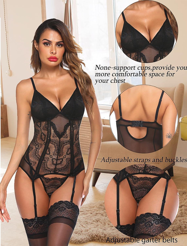 Avidlove Women Lingerie Set Lace Teddy Bodysuit with Garter Belt Mini Babydoll Chemise No Stockings