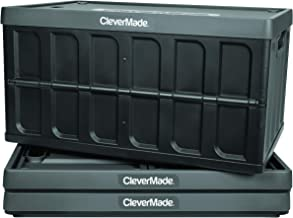 CleverMade 62L Collapsible Storage Bins with Lids - Folding Plastic Stackable Utility Crates, Solid Wall CleverCrates, 3 P...