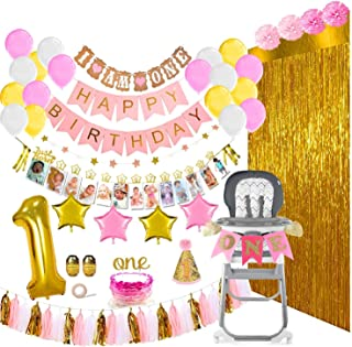 1st Birthday Girl Decorations and Party Supplies 133 Pcs - First Birthday Banners for Highchair, Balloons, 12 Months Milestones, Garlands, Cake Topper, Pom Poms, Party Hat, Backdrops, Pink, Pearl White, Gold Decor Pack