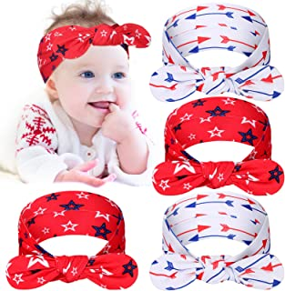 4 Pieces 4th of July Baby Headband Flower America Flag Headband Independence Day Hairband Patriotic Knot Bow Knot Rabbit E...
