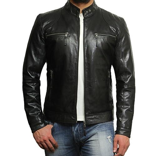 80aefd2b6 Leather Biker Jackets for Men: Amazon.co.uk