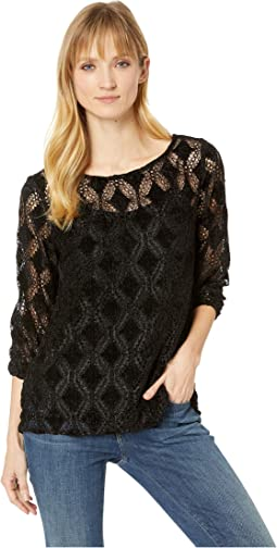 Diamond Chenille Lace 3/4 Sleeve Ballet Neck Top
