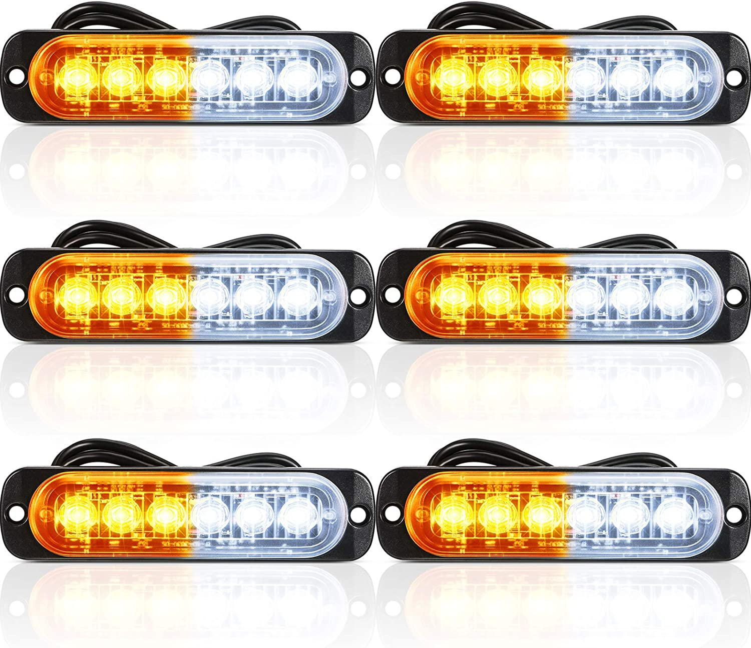 6 Pieces LED Emergency Strobe Surfa Light Deluxe Mesa Mall Car Lights Bars